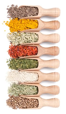 Herbs & Spices in Wooden Shovels